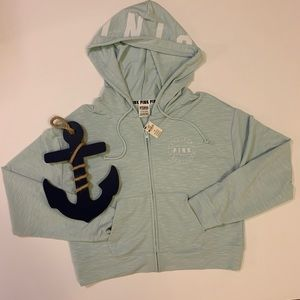 PINK Victoria's Secret Tops - PINK Light Blue Zip up Hoodie